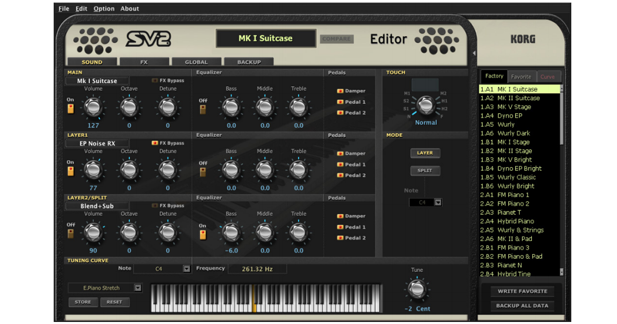 Ecco la schermata principale dell'editor per computer Pc/Mac scaricabile gratuitamente dal sito KORG, tramite questo Software intuitivo e semplice da utilizzare è possibile raggiungere funzioni, parametri e anche suoni aggiuntivi non disponibili sul pannello comandi di SV2