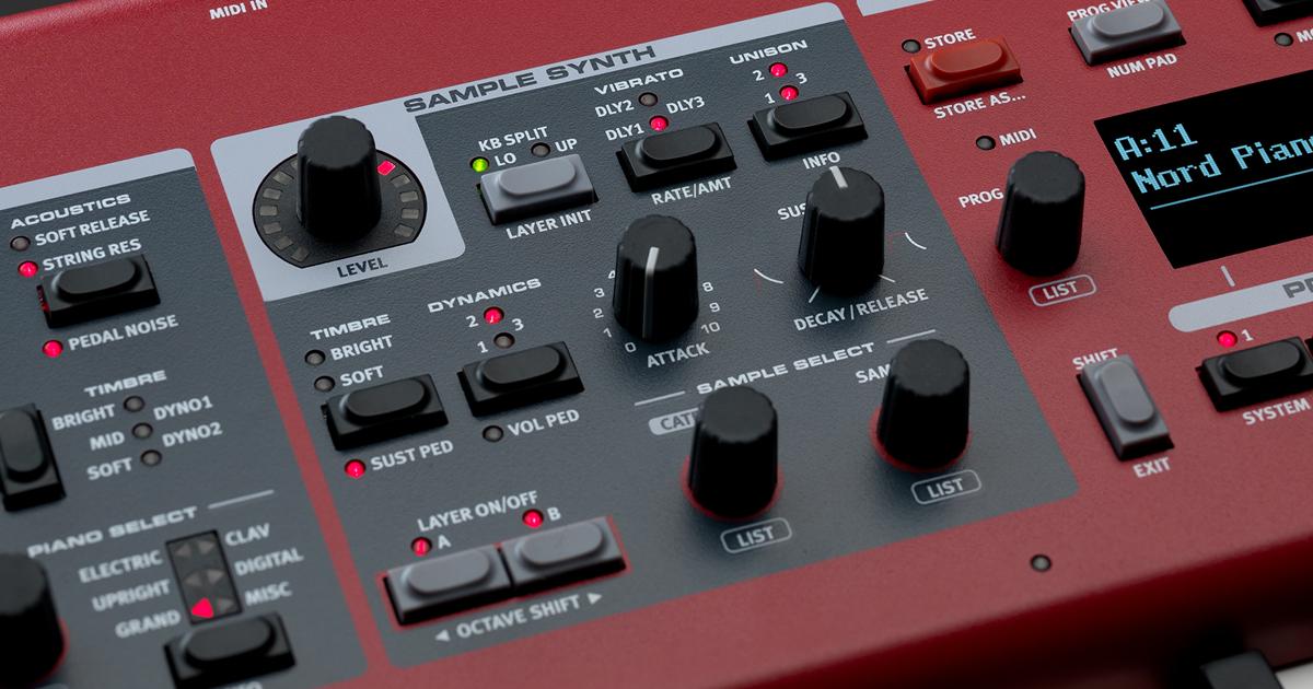 Sample/Synth è un generatore sonoro che aumenta notevolmente la versatilità timbrica di NORD Piano 5, consentendo di aggiungere al piano fino a due Layer di suoni ausiliari come Strings e Brass, Pad e Choir, e tutte le combinazioni necessarie per la vostra performance.