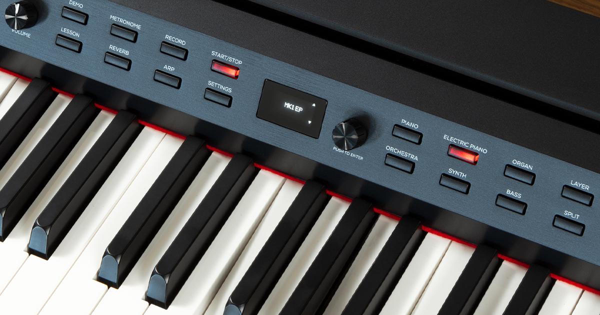 Il display OLED del pianoforte digitale con tastiera pesata Alesis Prestige Artist