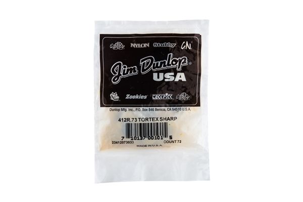 Dunlop - 412R.73 Tortex Sharp Yellow .73mm Bag/72