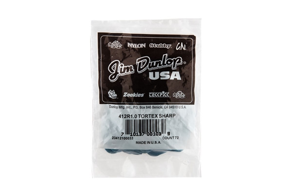 Dunlop - 412R1.0 Tortex Sharp Blue 1.0mm Bag/72