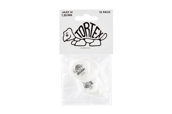 Dunlop - 478P1.35 TORTEX WHITE JAZZ III, 135MM