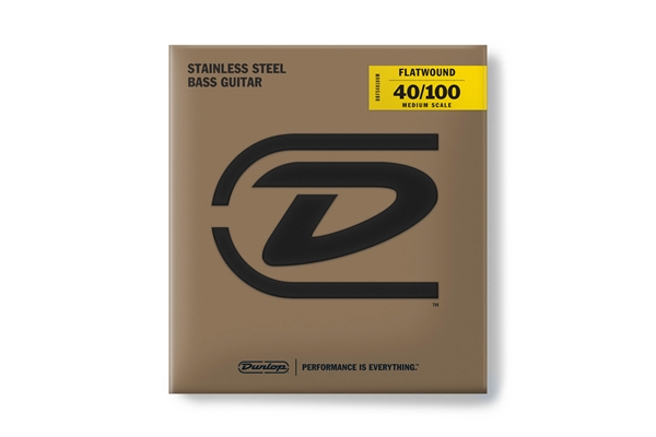 Dunlop - DBFS40100M Corde basso Flatwound Light Scala media Set/4