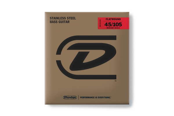 Dunlop - DBFS45105M Corde basso Flatwound Scala media Set/4