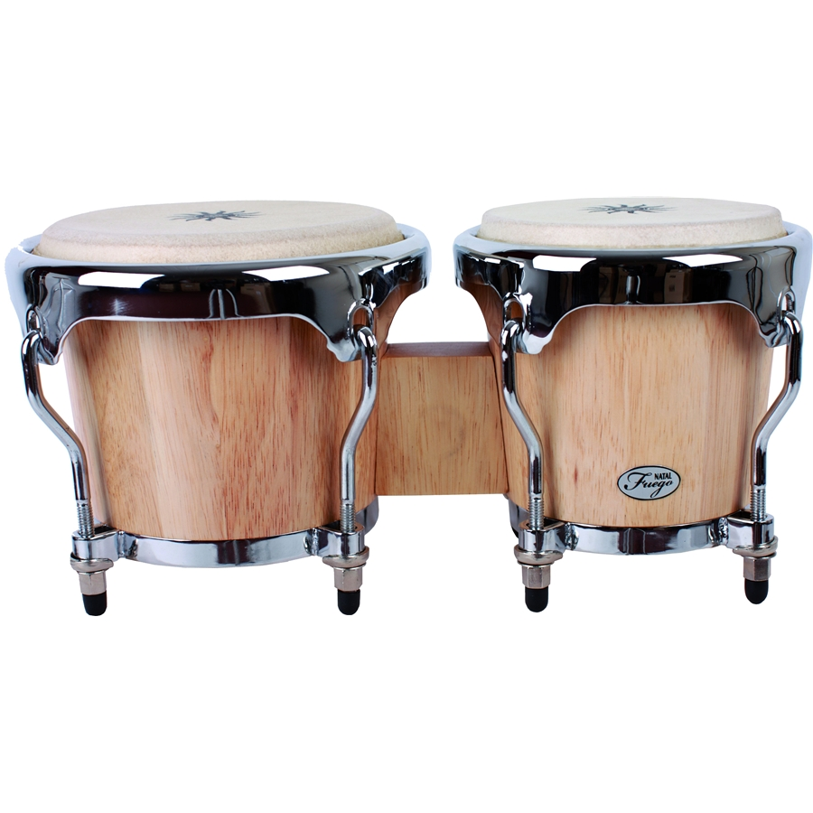 Natural Wood Bongos Chrome Hw Matt Honey