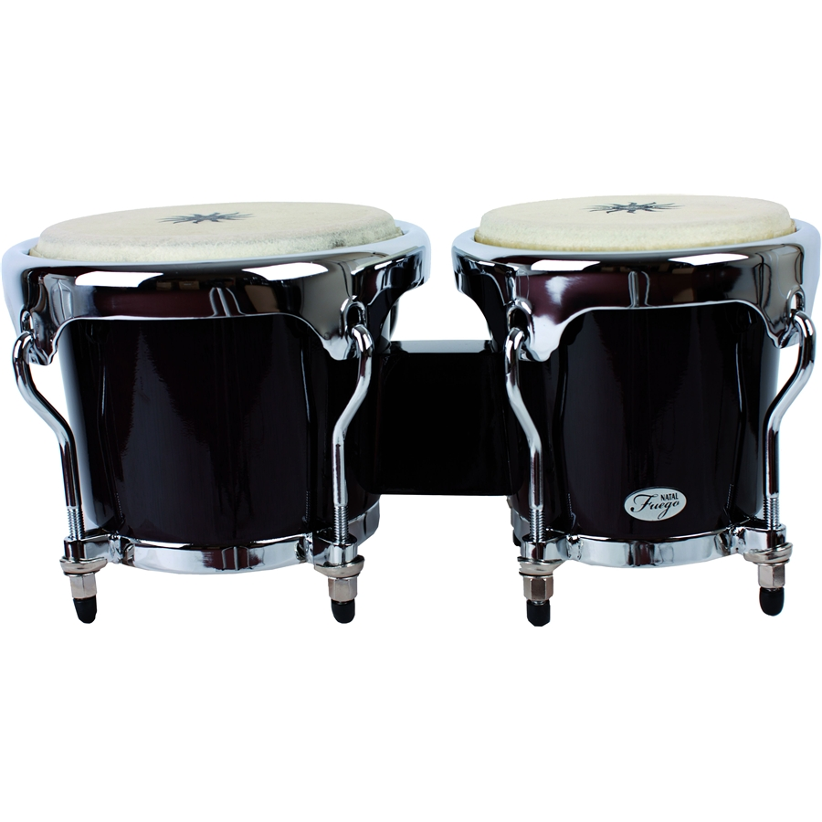 Natural Wood Bongos Chrome Hw Black Gloss