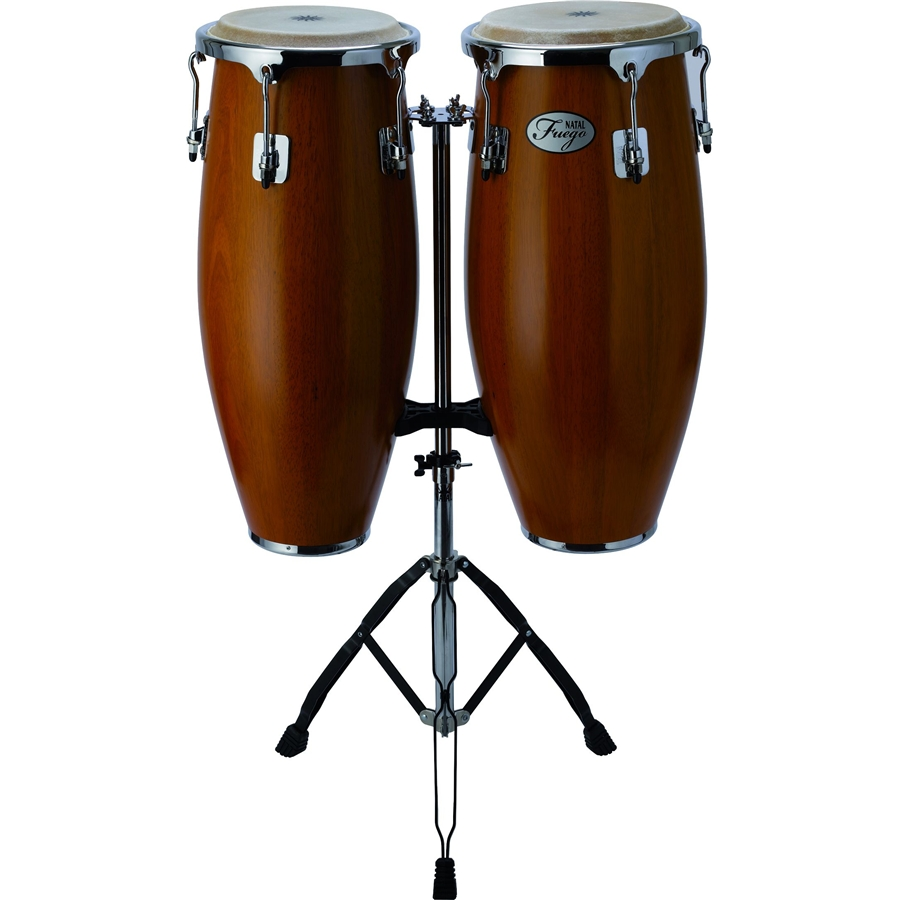 Natural Wood Congas Chrome 2 stand Matt Honey