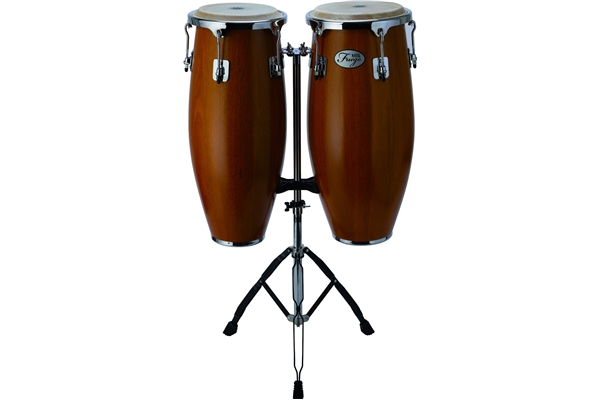 Natal  - Natural Wood Congas Chrome 2 stand Matt Honey