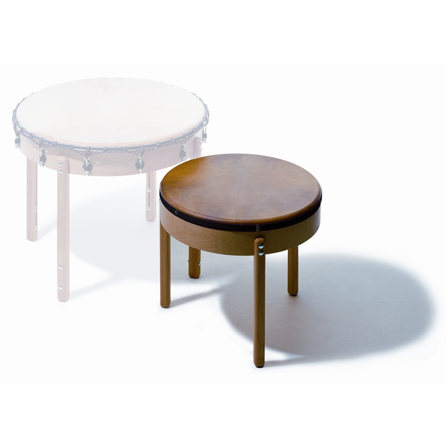 T 70 Table Drum, 70 cm dia., altezza: 72 cm, pino massello, pelle naturale