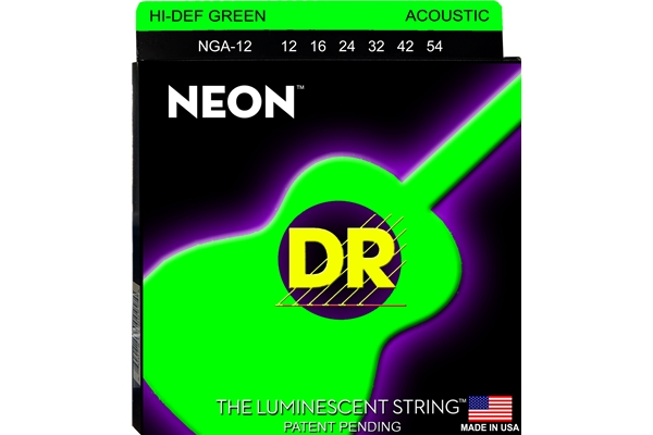 DR Strings - K3 Neon Hi-Def Green Acoustic NGA-12