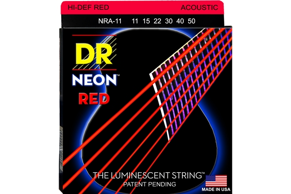 DR Strings - K3 Neon Hi-Def Red Acoustic NRA-11
