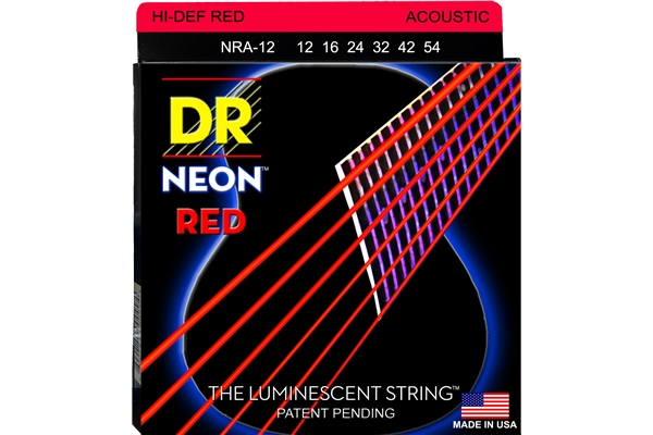 DR Strings - K3 Neon Hi-Def Red Acoustic NRA-12