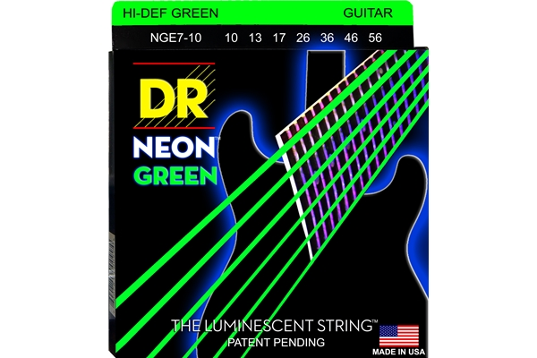 DR Strings - K3 Neon Hi-Def Green Electric NGE7-10