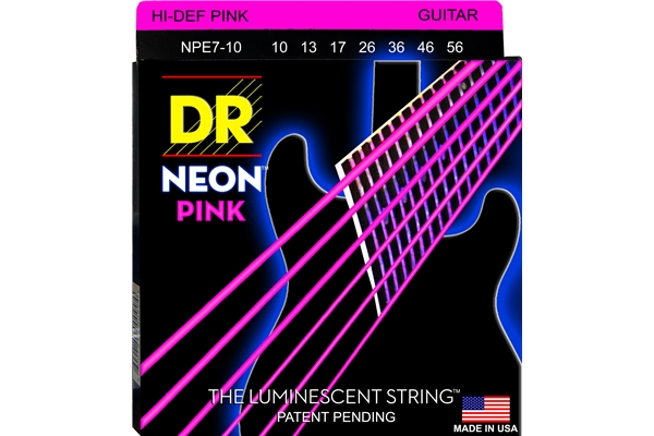 DR Strings - K3 Neon Hi-Def Pink Electric NPE7-10