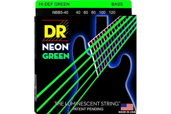 DR Strings - K3 Neon Hi-Def Green Bass NGB5-40