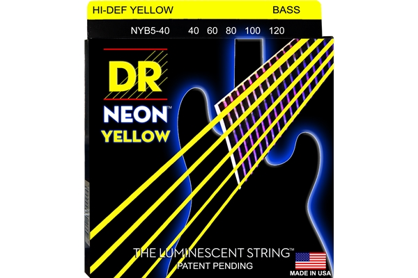 DR Strings - K3 Neon Hi-Def Yellow Bass NYB5-40