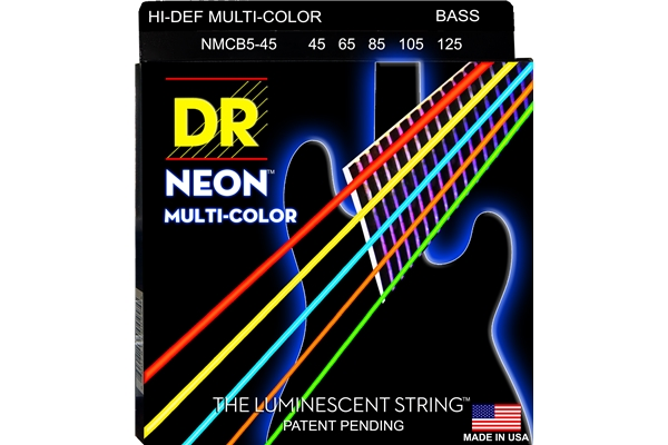 DR Strings - K3 Neon Hi-Def Multi-Color Bass MCB5-45