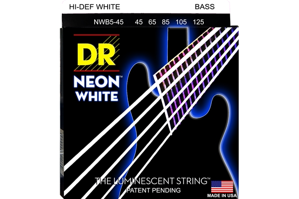DR Strings - K3 Neon Hi-Def White Bass NWB5-45