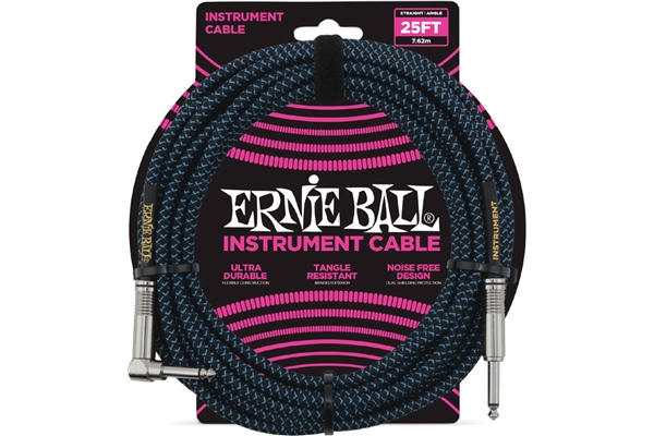 Ernie Ball - 6060 Cavo Braided Black/Blue 7,62 m