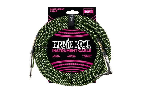 Ernie Ball - 6077 Cavo Braided Black/Green 2,5 m