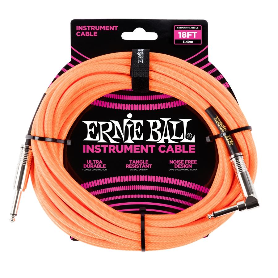 Cavo jack Ernie Ball Braided Neon Orange, dritto/angolato 5,49mt. P06084