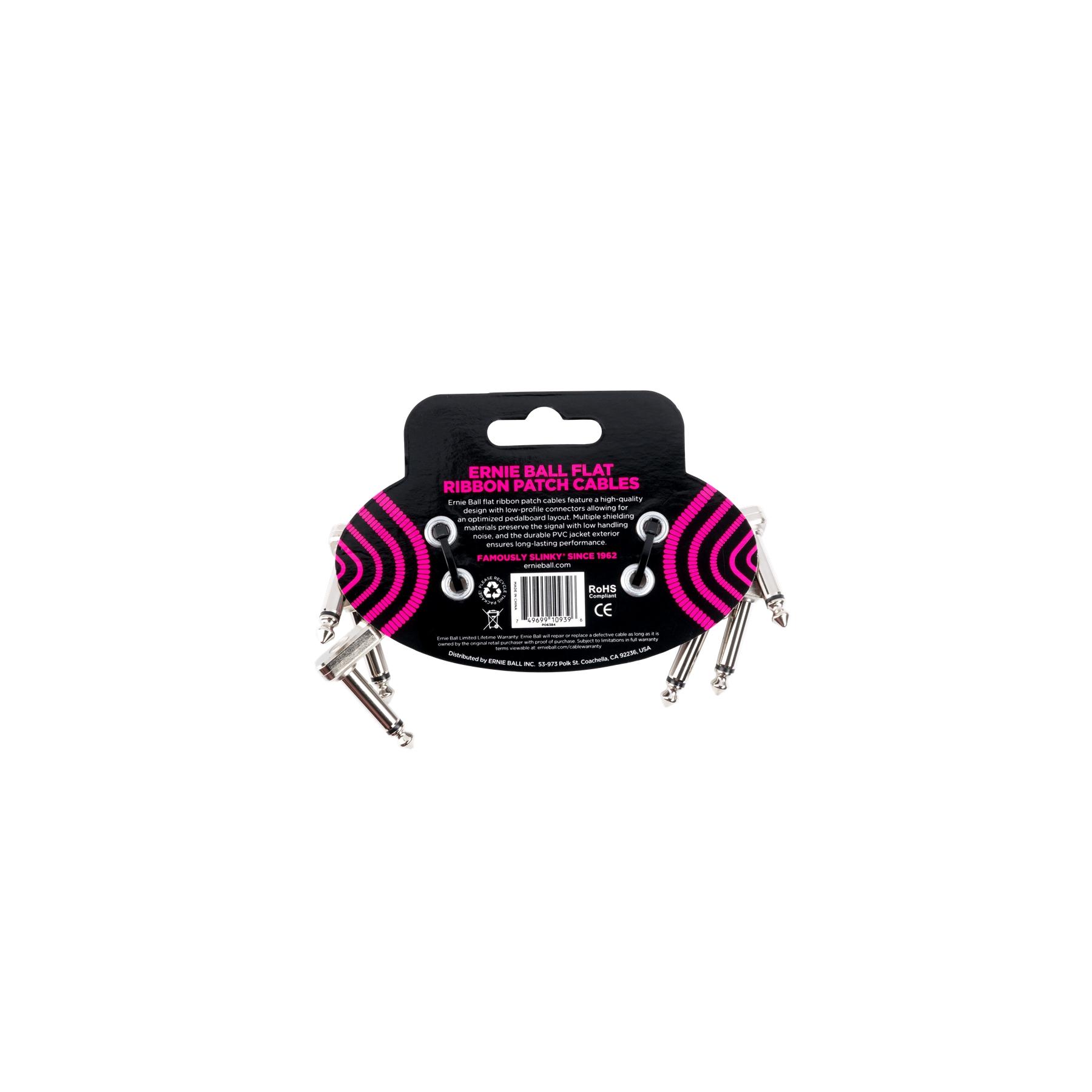 ERNIE BALL 6384 Flat Ribbon Patch Cable White 7.62cm 3pk