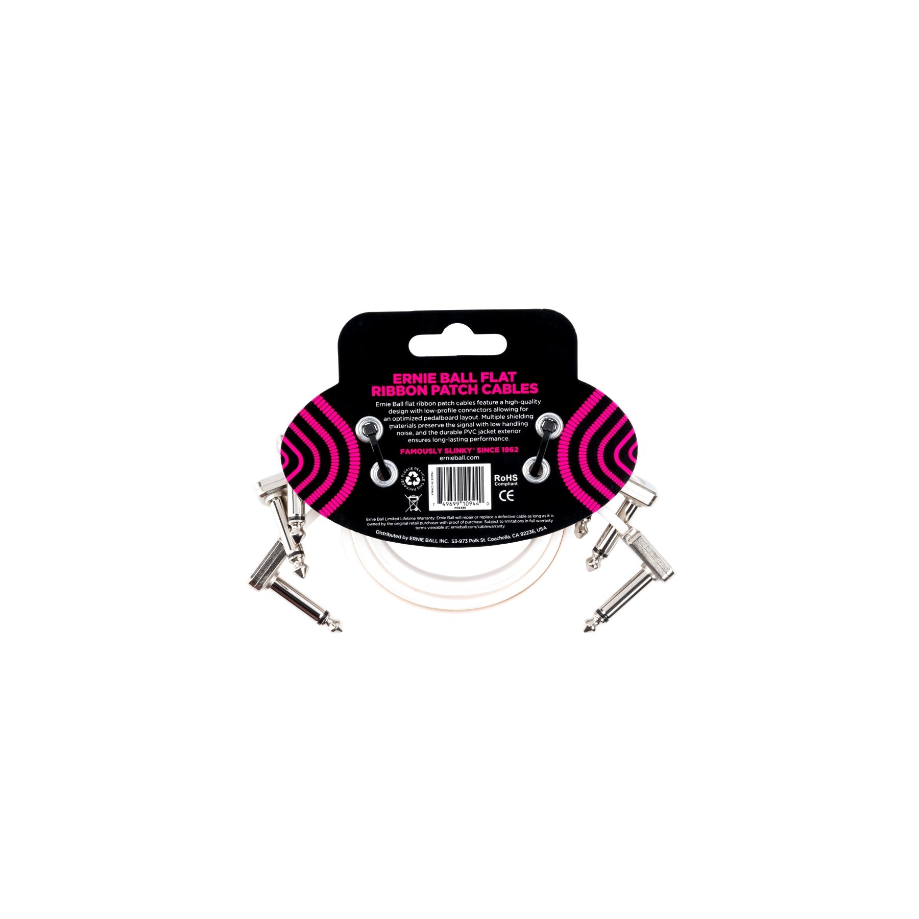 ERNIE BALL 6386 Flat Ribbon Patch Cable White 30.48cm 3pk
