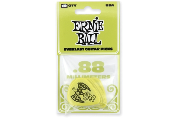Ernie Ball - Plettri Everlast Green 0.88mm Busta da 12