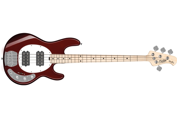 Sterling by Music Man - StingRay Ray4 HH 4 Corde Candy Apple Red Tastiera Acero