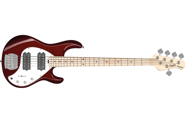 Sterling by Music Man - StingRay5 Ray5 HH 5 Corde Candy Apple Red Tastiera Acero