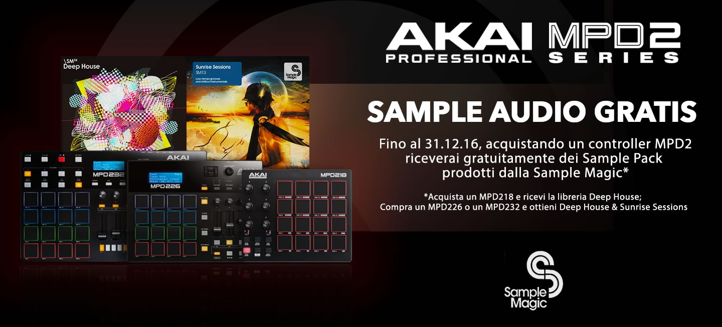 Partnership tra Akai Professional e Sample Magic: Librerie di campioni audio gratuite per gli utenti dei controller MPD2