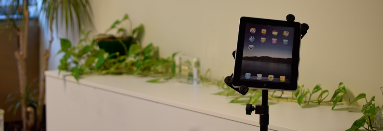 Tripod with tablet holder by Quik Lok
