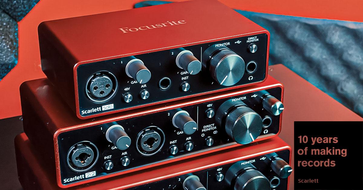 La serie di interfacce audio USB Scarlett by Focusrite festeggia il decimo anniversario